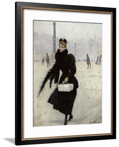 Parisian Woman in the Place de La Concorde, c.1890-Jean B?raud-Framed Art Print