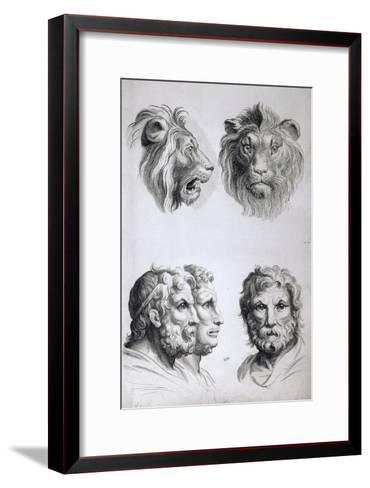 Similarities Between the Head of a Lion and a Man-Charles Le Brun-Framed Art Print