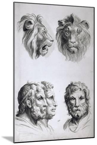 Similarities Between the Head of a Lion and a Man-Charles Le Brun-Mounted Giclee Print