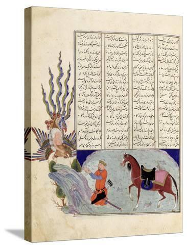 Simurgh Offers Zal, the Father of Roustem, to Sam, the Grandfather of Roustem, from the 'shahnama--Stretched Canvas Print
