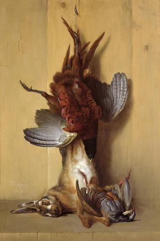 Still Life with a Hare, a Pheasant and a Red Partridge, 1753-Jean-Baptiste Oudry-Stretched Canvas Print