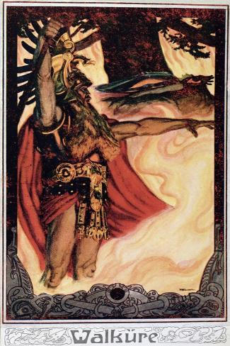 Postcard Depicting Odin Calling Up the Fire, 1914--Stretched Canvas Print