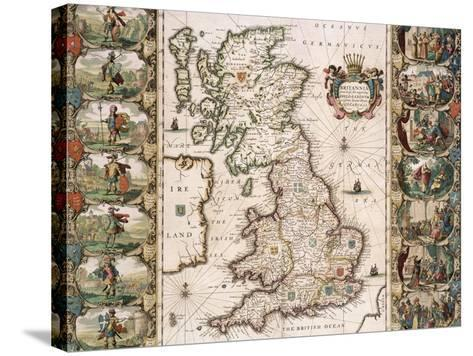 Britain as It Was Devided in the Tyme of the Englishe Saxons, 1616-John Speed-Stretched Canvas Print