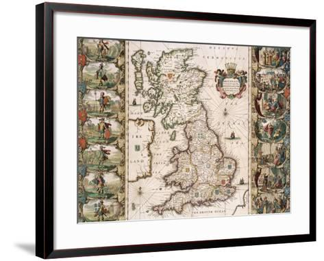 Britain as It Was Devided in the Tyme of the Englishe Saxons, 1616-John Speed-Framed Art Print