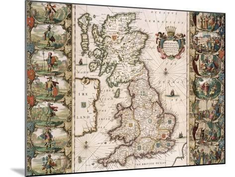 Britain as It Was Devided in the Tyme of the Englishe Saxons, 1616-John Speed-Mounted Giclee Print