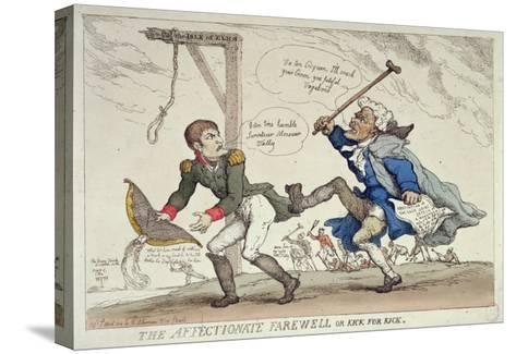 The Affectionate Farewell Or, Kick For Kick, Published by R. Ackermann, 17th April 1814-Thomas Rowlandson-Stretched Canvas Print