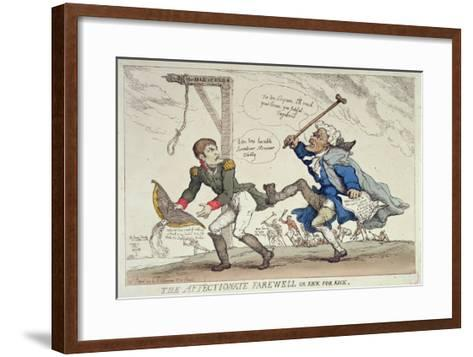 The Affectionate Farewell Or, Kick For Kick, Published by R. Ackermann, 17th April 1814-Thomas Rowlandson-Framed Art Print