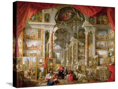 Gallery with Views of Modern Rome, 1759-Giovanni Paolo Pannini-Stretched Canvas Print