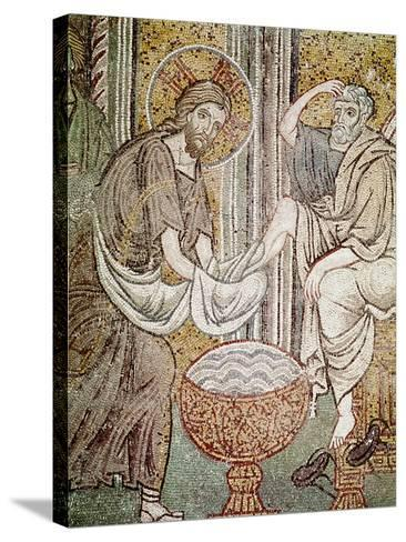 Jesus and St. Peter, Detail from Jesus Washing the Feet of the Apostle--Stretched Canvas Print