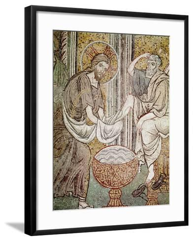 Jesus and St. Peter, Detail from Jesus Washing the Feet of the Apostle--Framed Art Print