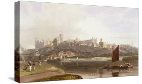 Windsor Castle, River Meadow on Thames, from Views of Windsor, Eton and Virginia Water, c.1827-30-Thomas & William Daniell-Stretched Canvas Print