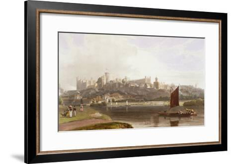 Windsor Castle, River Meadow on Thames, from Views of Windsor, Eton and Virginia Water, c.1827-30-Thomas & William Daniell-Framed Art Print