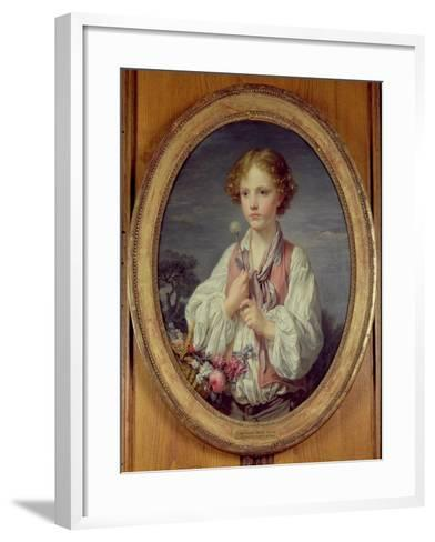 Young Boy with a Basket of Flowers-Jean-Baptiste Greuze-Framed Art Print