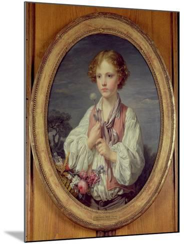 Young Boy with a Basket of Flowers-Jean-Baptiste Greuze-Mounted Giclee Print