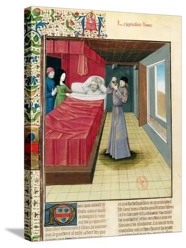 Doctor Performing a Urine Analysis, Livre Des Proprietes Des Choses L'Anglais, 1480--Stretched Canvas Print