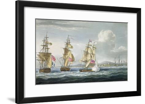 Surrender of Tamatave, Engraved Sutherland, The Naval Chronology of Great Britain, c.1820-Thomas Whitcombe-Framed Art Print