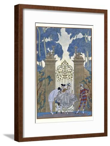 Columbine, Illustration For Fetes Galantes by Paul Verlaine-Georges Barbier-Framed Art Print