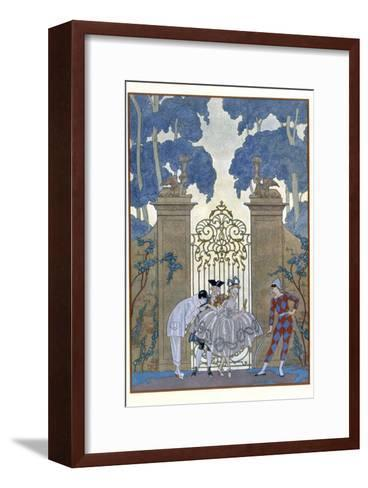 Columbine, Illustration For Fetes Galantes by Paul Verlaine-Georges Barbier-Framed Art Print