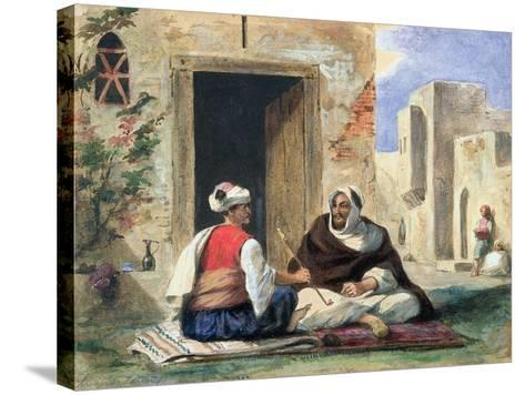 Arab Men Smoking in Front of a House-Eugene Delacroix-Stretched Canvas Print
