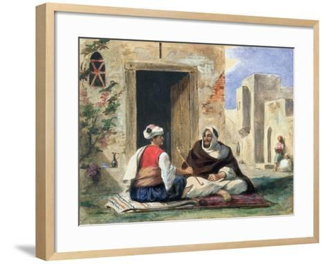 Arab Men Smoking in Front of a House-Eugene Delacroix-Framed Art Print