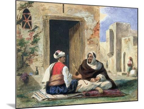 Arab Men Smoking in Front of a House-Eugene Delacroix-Mounted Giclee Print