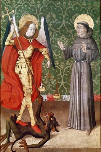 St. Michael and St. Francis of Assisi, c.1480--Stretched Canvas Print