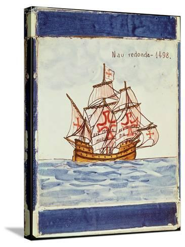 Azulejos Tile Depicting a Ship, from Sagres, 1498--Stretched Canvas Print