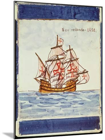 Azulejos Tile Depicting a Ship, from Sagres, 1498--Mounted Giclee Print
