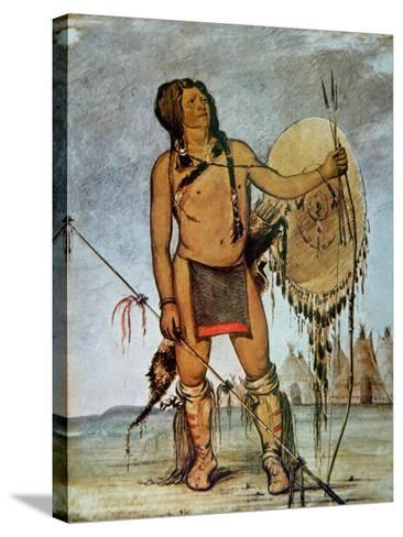 Comanche Warrior with a Shield, Lance and Bow and Arrows, c.1835-George Catlin-Stretched Canvas Print