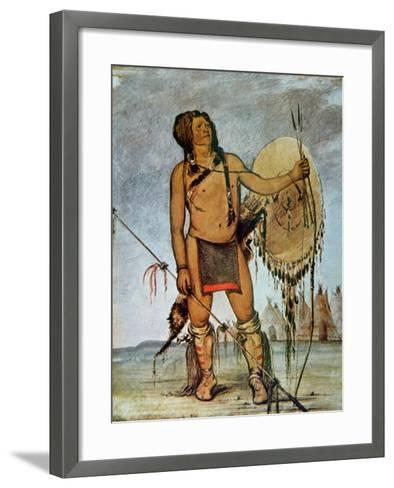 Comanche Warrior with a Shield, Lance and Bow and Arrows, c.1835-George Catlin-Framed Art Print