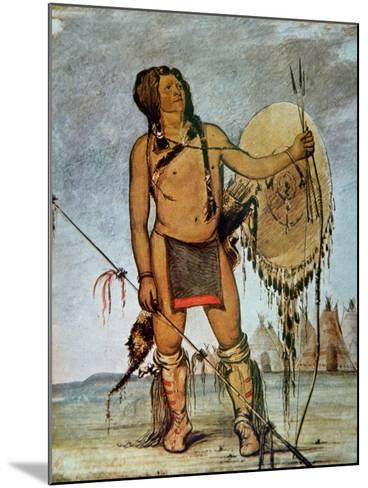 Comanche Warrior with a Shield, Lance and Bow and Arrows, c.1835-George Catlin-Mounted Giclee Print