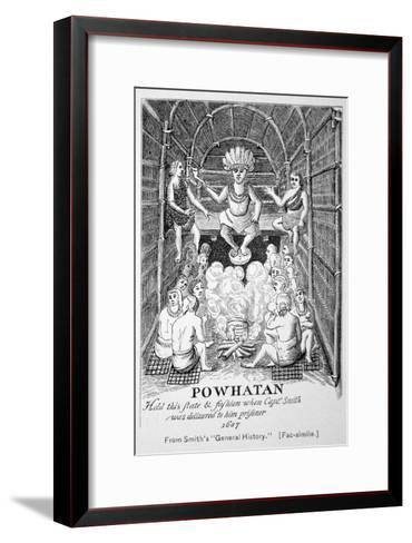 Chief Powhatan, Smith's General Historie of Virginia, New England and the Summer Isles, c.1624--Framed Art Print