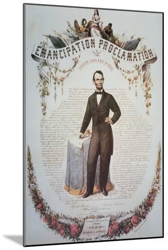 Souvenir Print of the Emancipation Proclamation, Issued 1st January 1863--Mounted Giclee Print