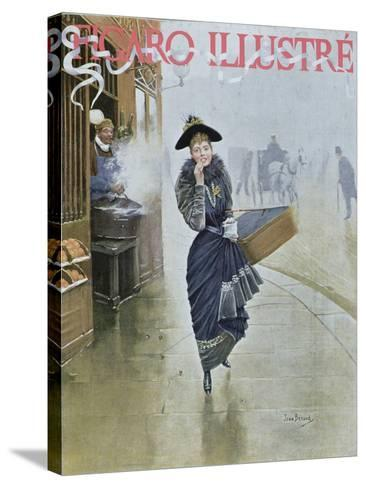 Young Parisian Hatmaker, Cover Illustration of 'Figaro Illustre', February 1892-Jean B?raud-Stretched Canvas Print