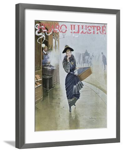 Young Parisian Hatmaker, Cover Illustration of 'Figaro Illustre', February 1892-Jean B?raud-Framed Art Print