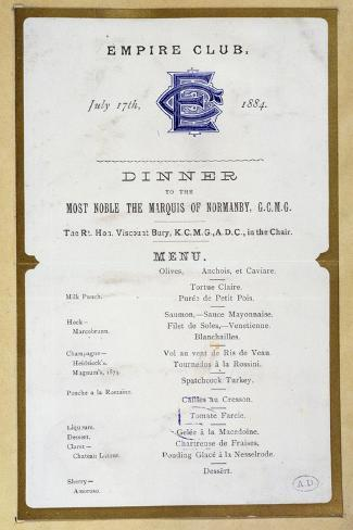Menu from the Empire Club, 17th March 1884--Stretched Canvas Print