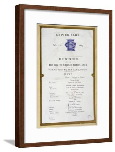 Menu from the Empire Club, 17th March 1884--Framed Art Print