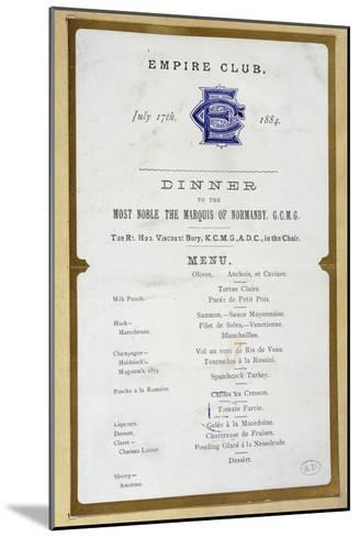 Menu from the Empire Club, 17th March 1884--Mounted Giclee Print