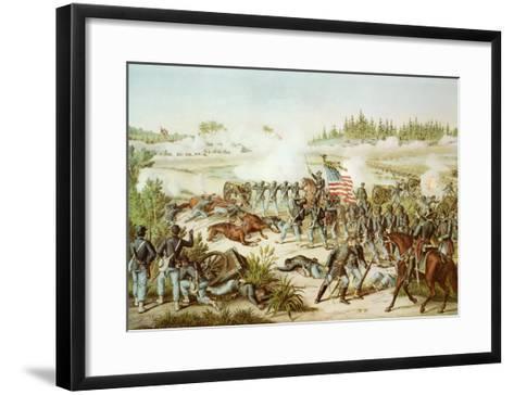 Black Troops of the 54th Massachusetts Regiment at the Battle of Olustee, Florida, 1864--Framed Art Print