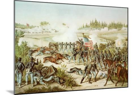 Black Troops of the 54th Massachusetts Regiment at the Battle of Olustee, Florida, 1864--Mounted Giclee Print