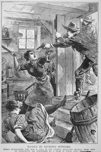 Revenue Officers Raid Illegal Liquor Still in the Georgia Mountains, the 'Police Gazette', 1895--Stretched Canvas Print