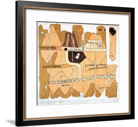 The Turin Papyrus, Reproduction of Ancient Egyptian Map of Gold Mines, c.1300 BC--Framed Art Print