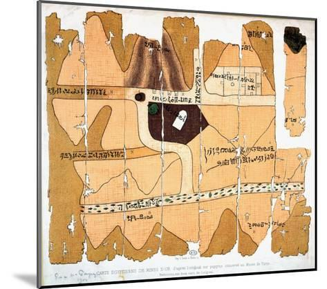 The Turin Papyrus, Reproduction of Ancient Egyptian Map of Gold Mines, c.1300 BC--Mounted Giclee Print