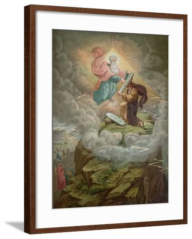 Moses Receives the Tablets of the Law from God on Mount Sinai--Framed Art Print