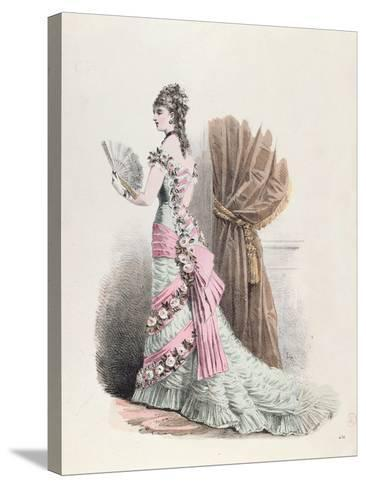 Fashion Plate of a Woman in Evening Dress and with a Fan, 1877--Stretched Canvas Print