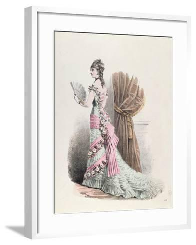 Fashion Plate of a Woman in Evening Dress and with a Fan, 1877--Framed Art Print