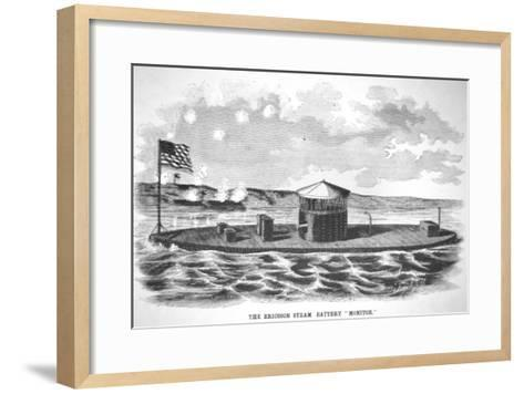 The Steam-Powered Ironclad USS Monitor, Designed by John Ericsson--Framed Art Print