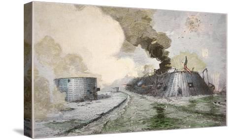 USS Monitor Fighting the CSS Merrimack, Battle of Hampton Broads, American Civil War, c.1862--Stretched Canvas Print