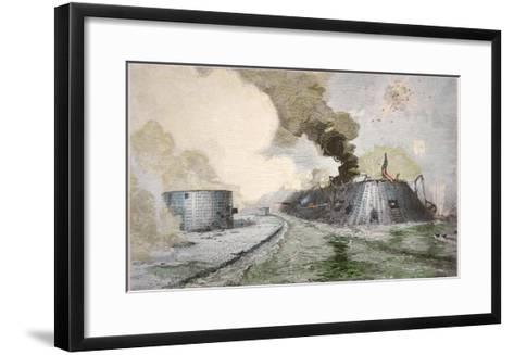 USS Monitor Fighting the CSS Merrimack, Battle of Hampton Broads, American Civil War, c.1862--Framed Art Print