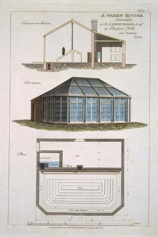 Design For a Green House Executed For J. E Liebenrood at Prospect Hill--Stretched Canvas Print